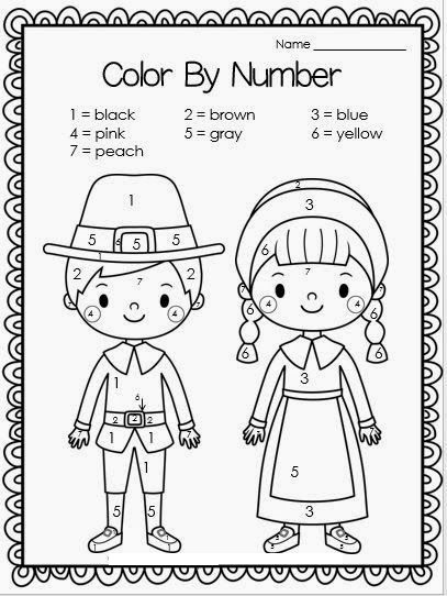 Free Thanksgiving Pilgrims Color By Number Crafts And Worksheets For Preschool Toddler And Kindergarten