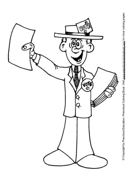 www.preschoolcoloringbook / election day coloring page