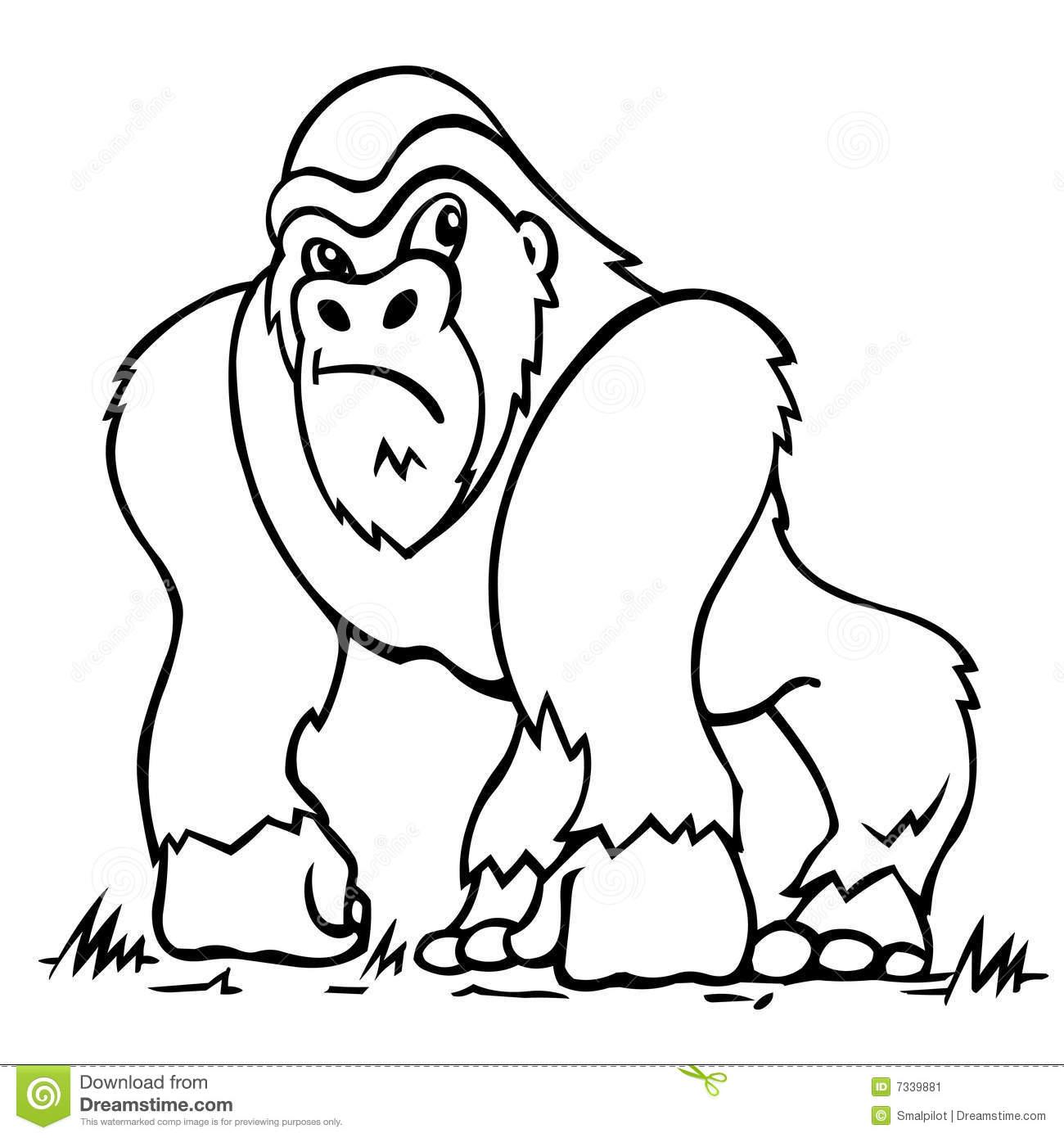Animals Gorilla Printable Coloring Pages For Preschool