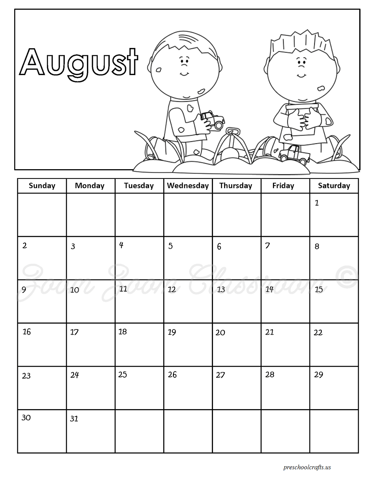 August Calendar Coloring Pages