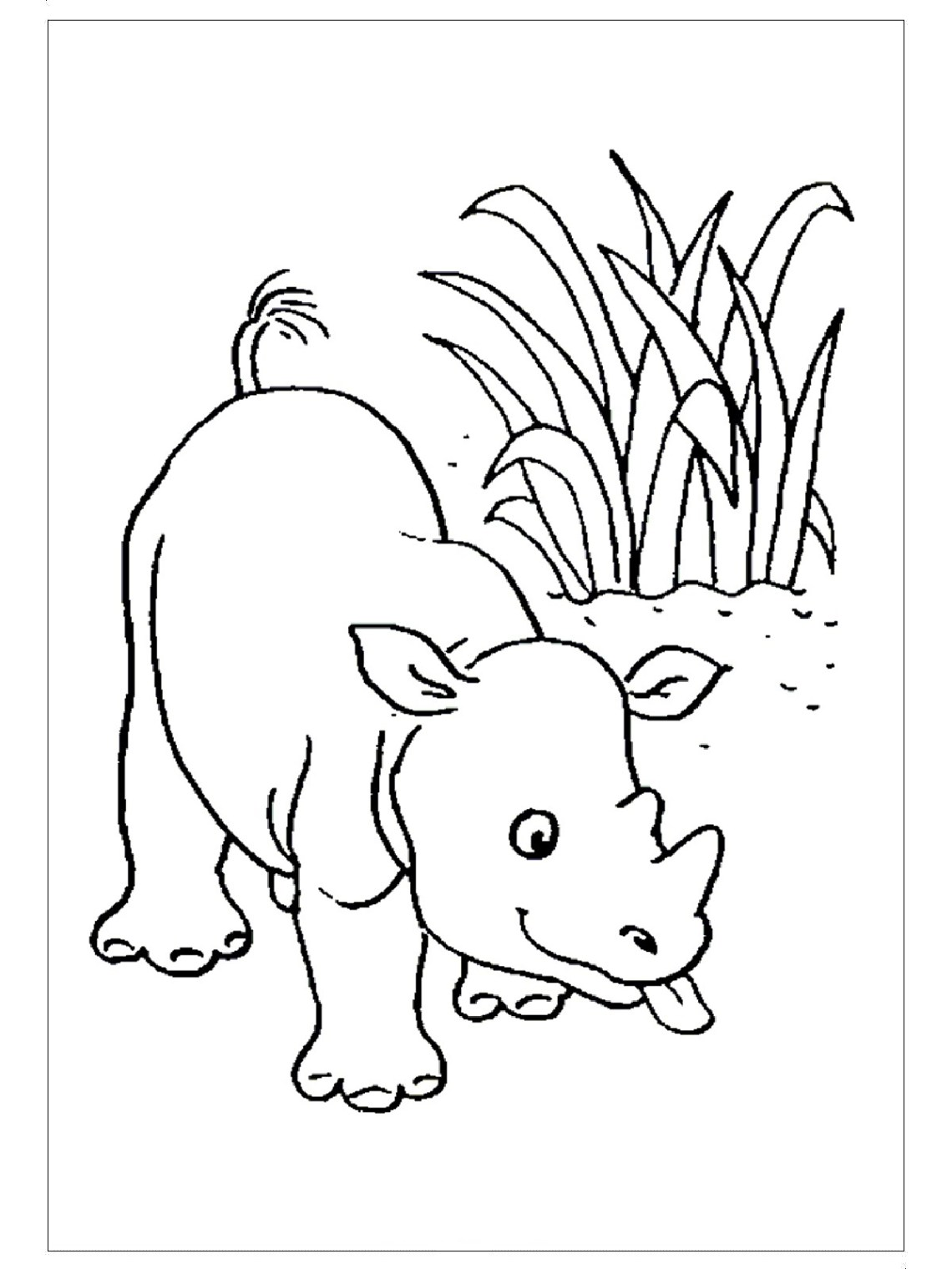 Rhino Coloring Pages for child - Preschool and Kindergarten | coloring worksheets for preschoolers