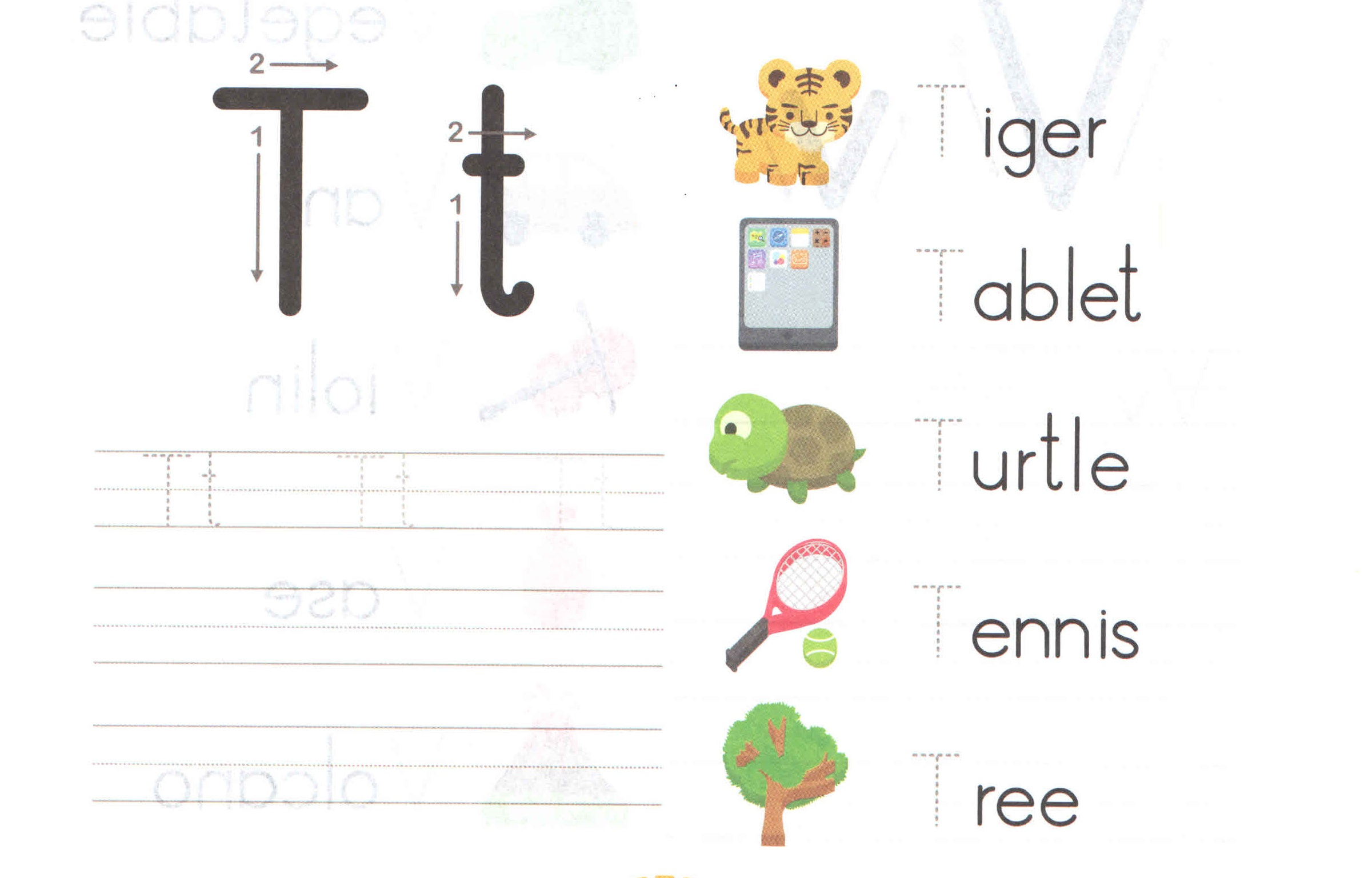 Alphabet Capital And Small Letter T T Worksheet For Kids