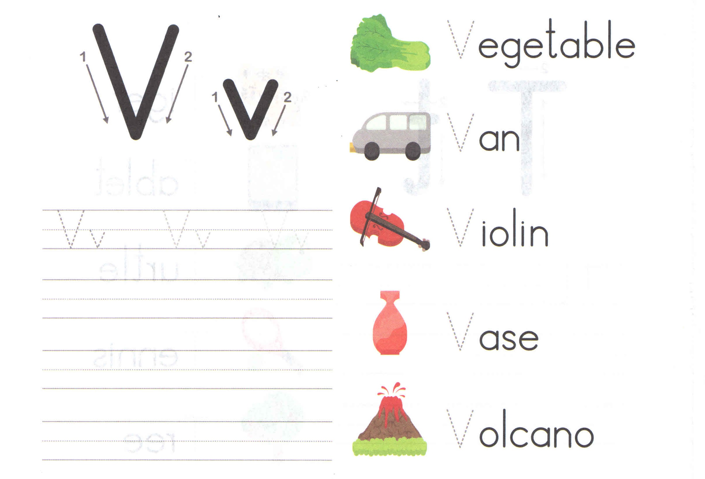 V Letter Sound Worksheet