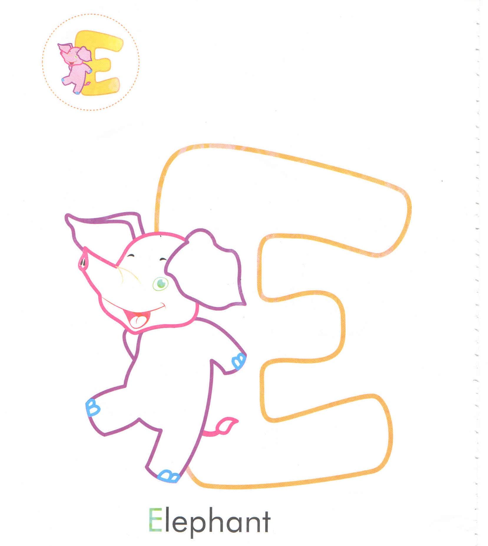Alphabet Letter E Elephant Coloring Page For Preschool