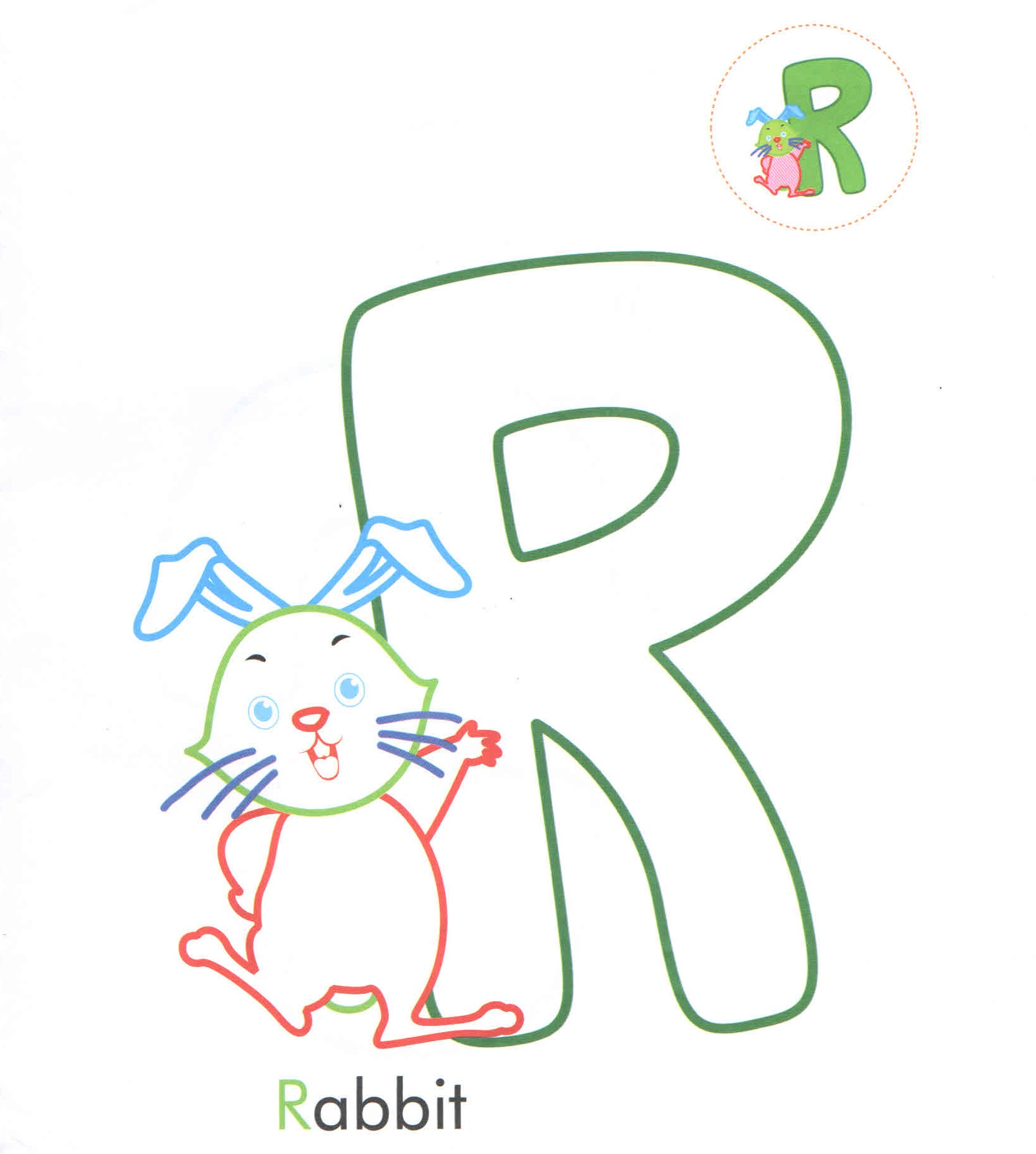 Alphabet Letter R Rabbit Coloring Page For Preschool