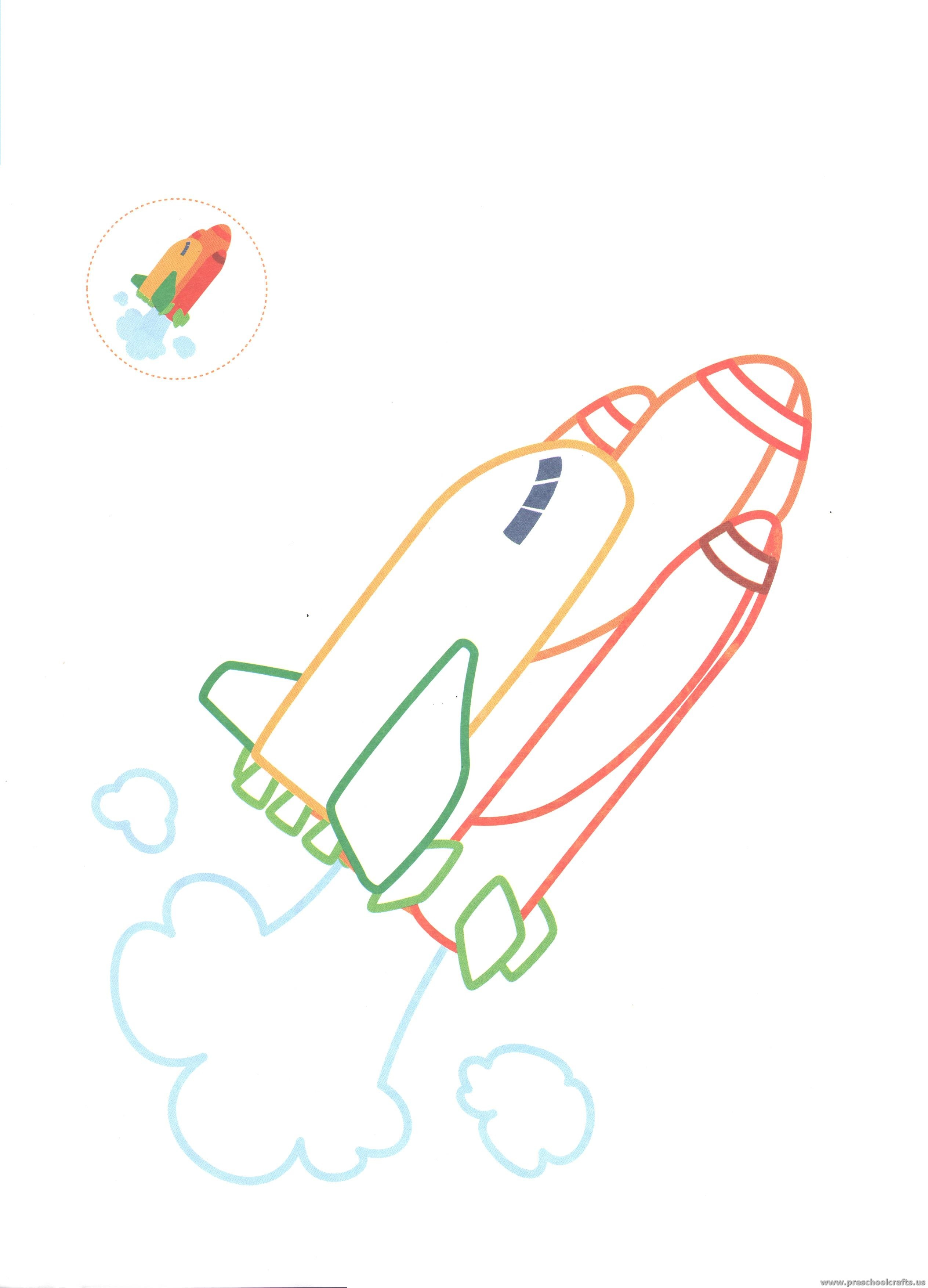 Free Printable Coloring Pages Outer Space Rocket