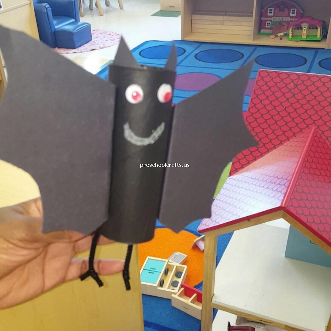 Bat Crafts For Preschool With Toilet Paper