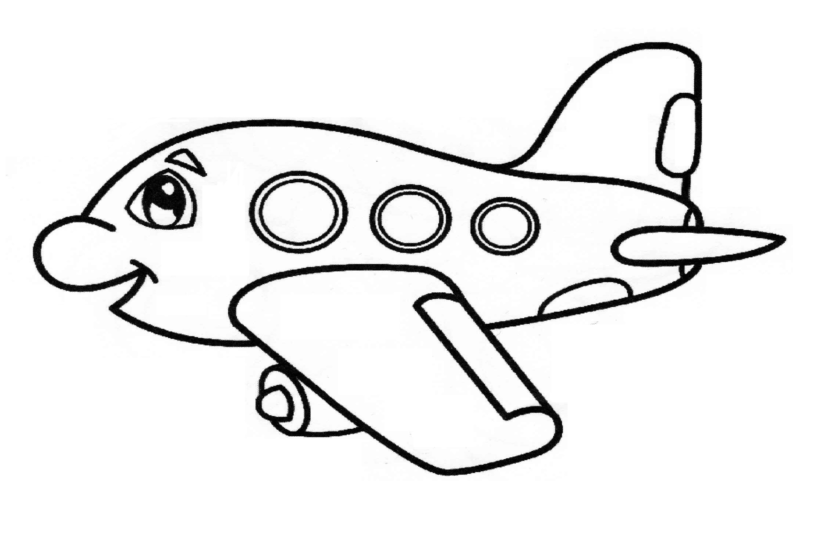 Airplane Coloring Page For Preschool And Kindergarten