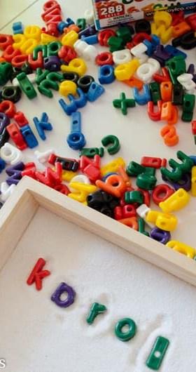 Alphabet Bead Sand Tray Loose Parts Play