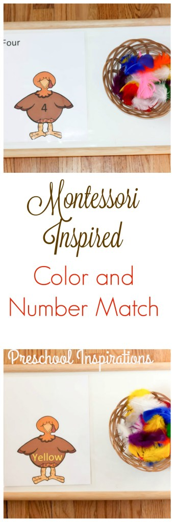 Practice colors and numbers with this Montessori inspired turkey game