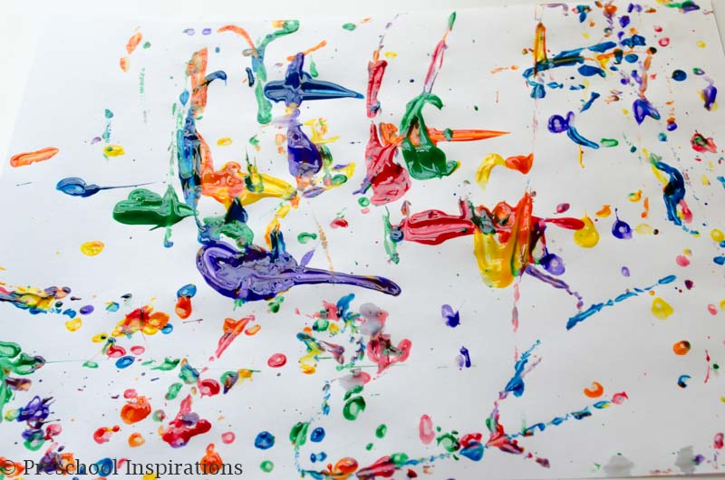 Rainbow Marble Painting Process Art by Preschool Inspirations -- a perfect rainbow activity