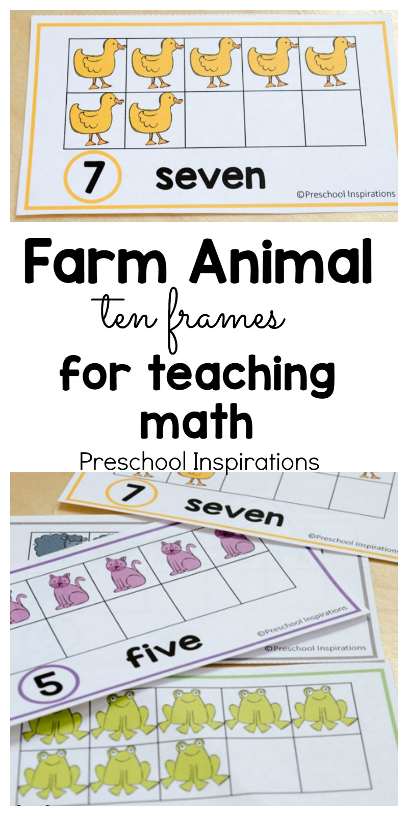 These farm themed free math printables are perfect for helping children count and learn about numbers. Use these in a math center or a small group, or you can even hang them on the wall. Use these farm themed ten frame cards to make math fun for young children.