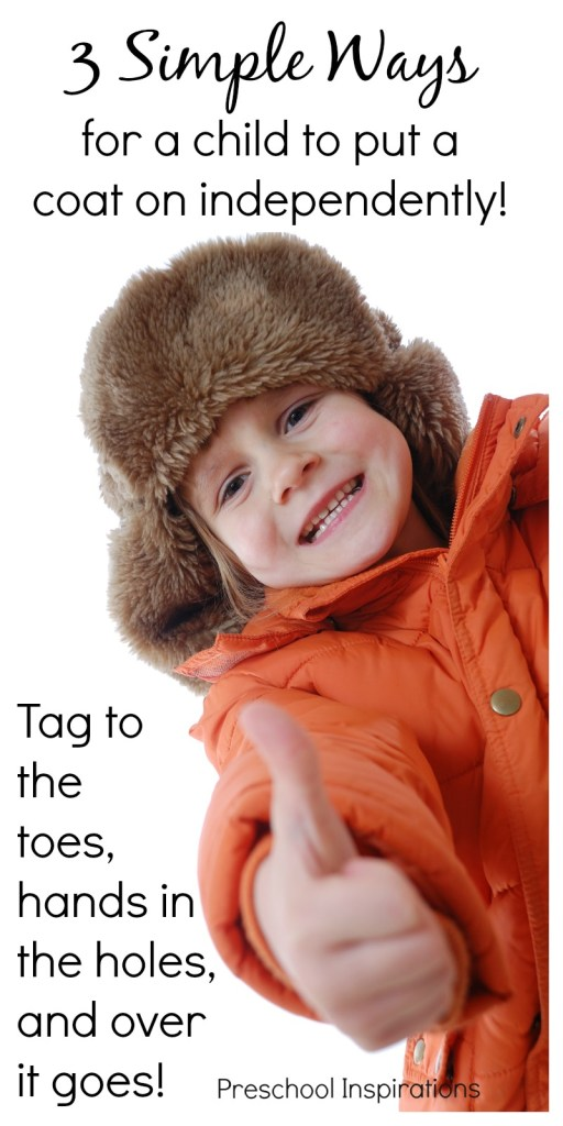 These are 3 simple ways for children to learn to put their own coats on independently. This helps children with dressing skills as well as self-confidence. And it is a huge time saver for teachers!
