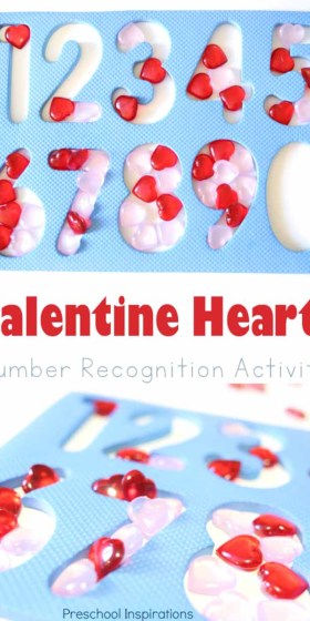 Valentine Hearts Number Recognition Activity