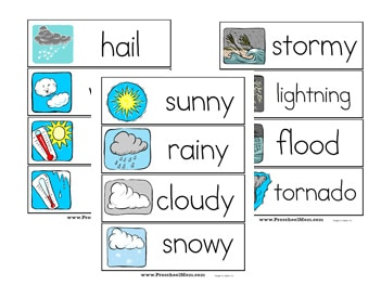photo relating to Printable Word Wall Cards With Pictures known as Climate Preschool Printables - Preschool Mother