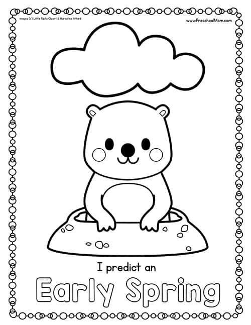 4 adorable Groundhog Day coloring pages for kids | 647x500