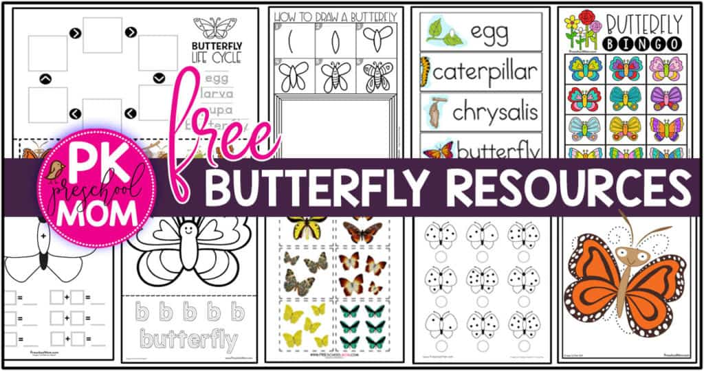 graphic about Make Your Own Matching Game Printable called Butterfly Preschool Printables - Preschool Mother