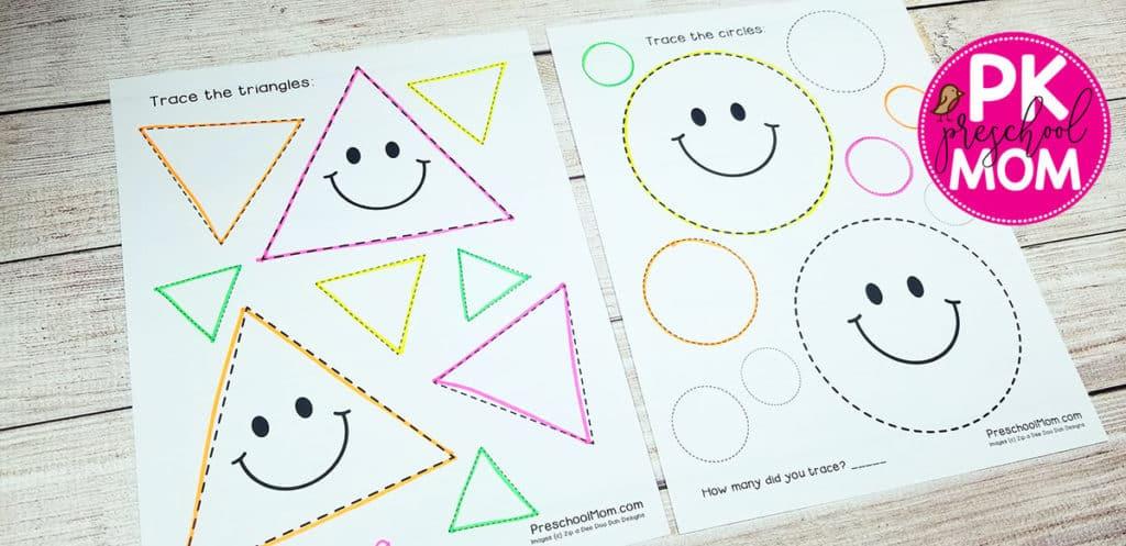 Shape Tracing Worksheets - Preschool Mom