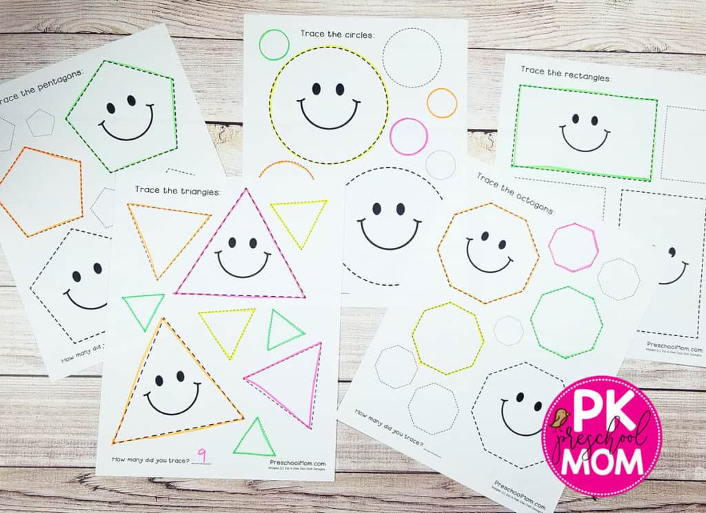 Shape Tracing Worksheets - Preschool Mom