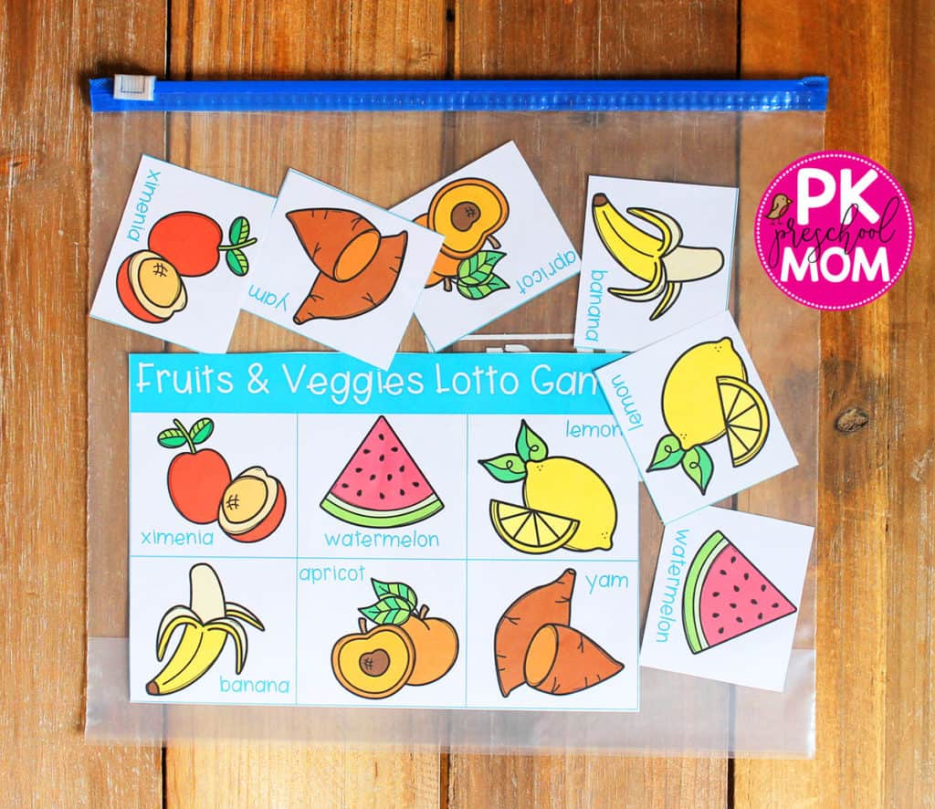 Fruit Amp Veggie Bingo Game