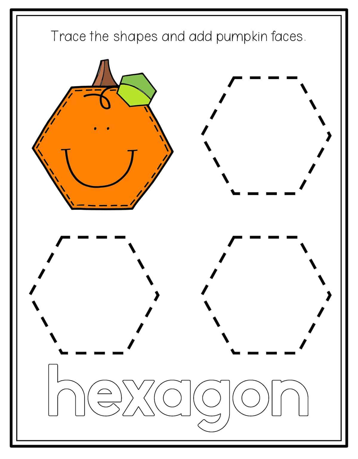 Trace Octagon Shape Worksheets
