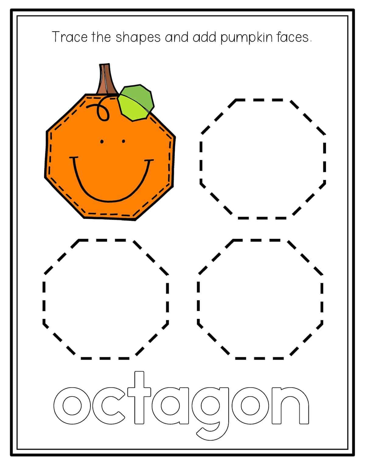 Octagone Shape Tracing Worksheet Preschool