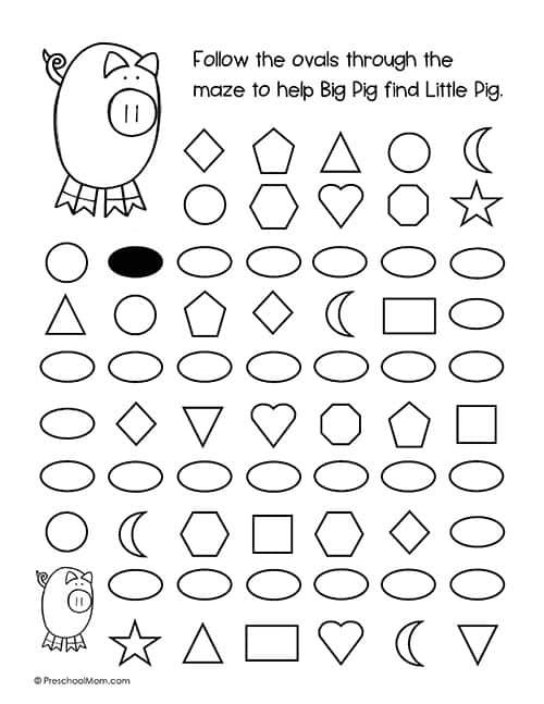 Shape Mazes For Preschoolers - Preschool Mom