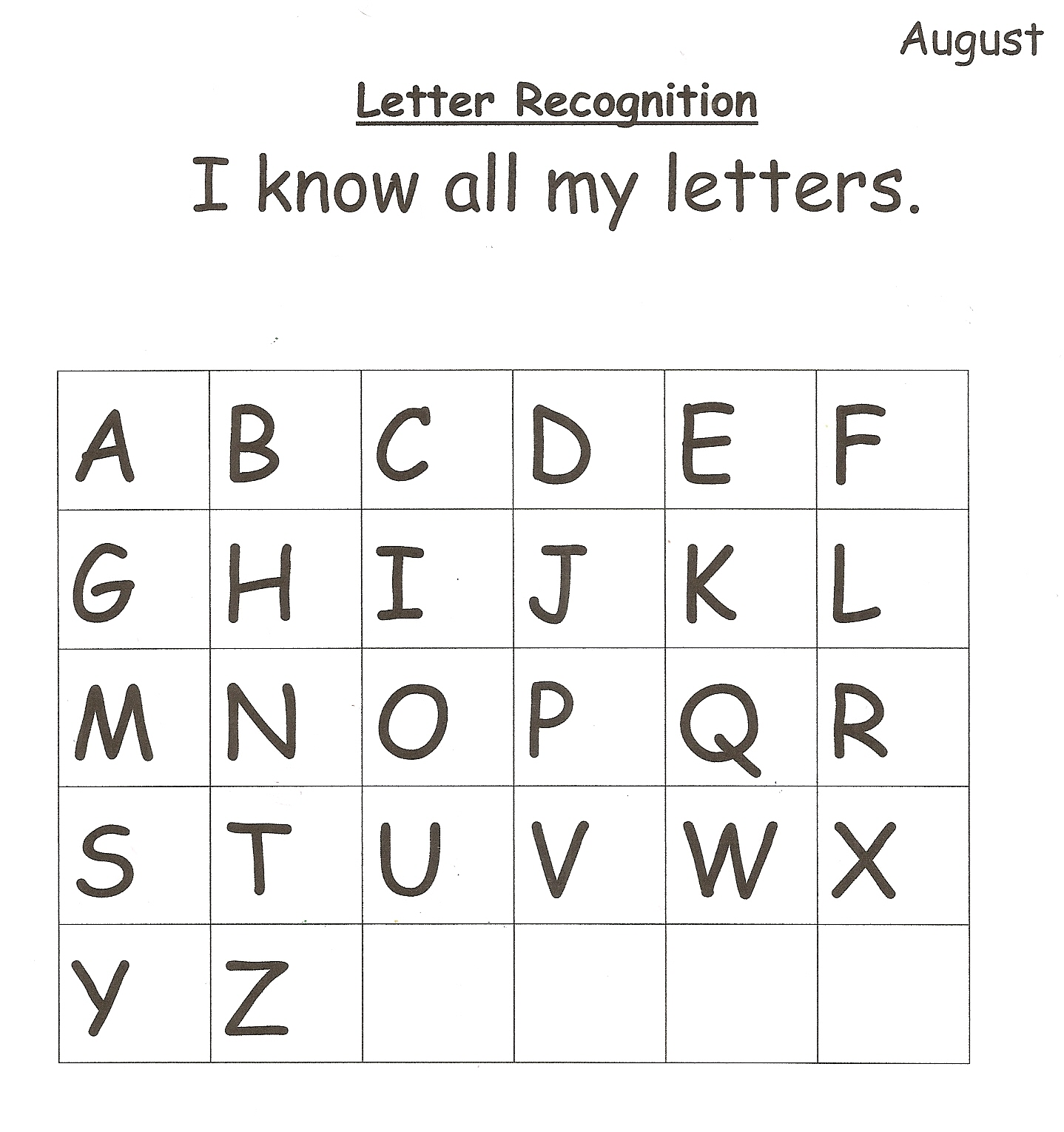Letter Recognition Assessing And Communicating