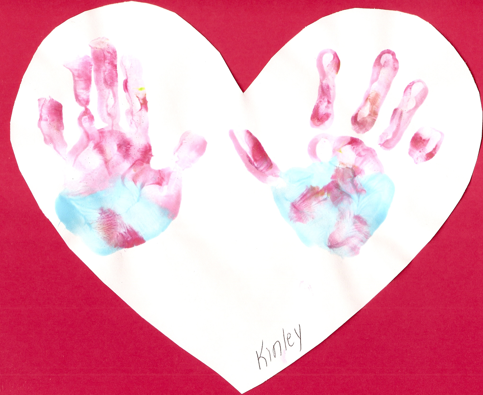 Handprint Hearts For Valentine S Day