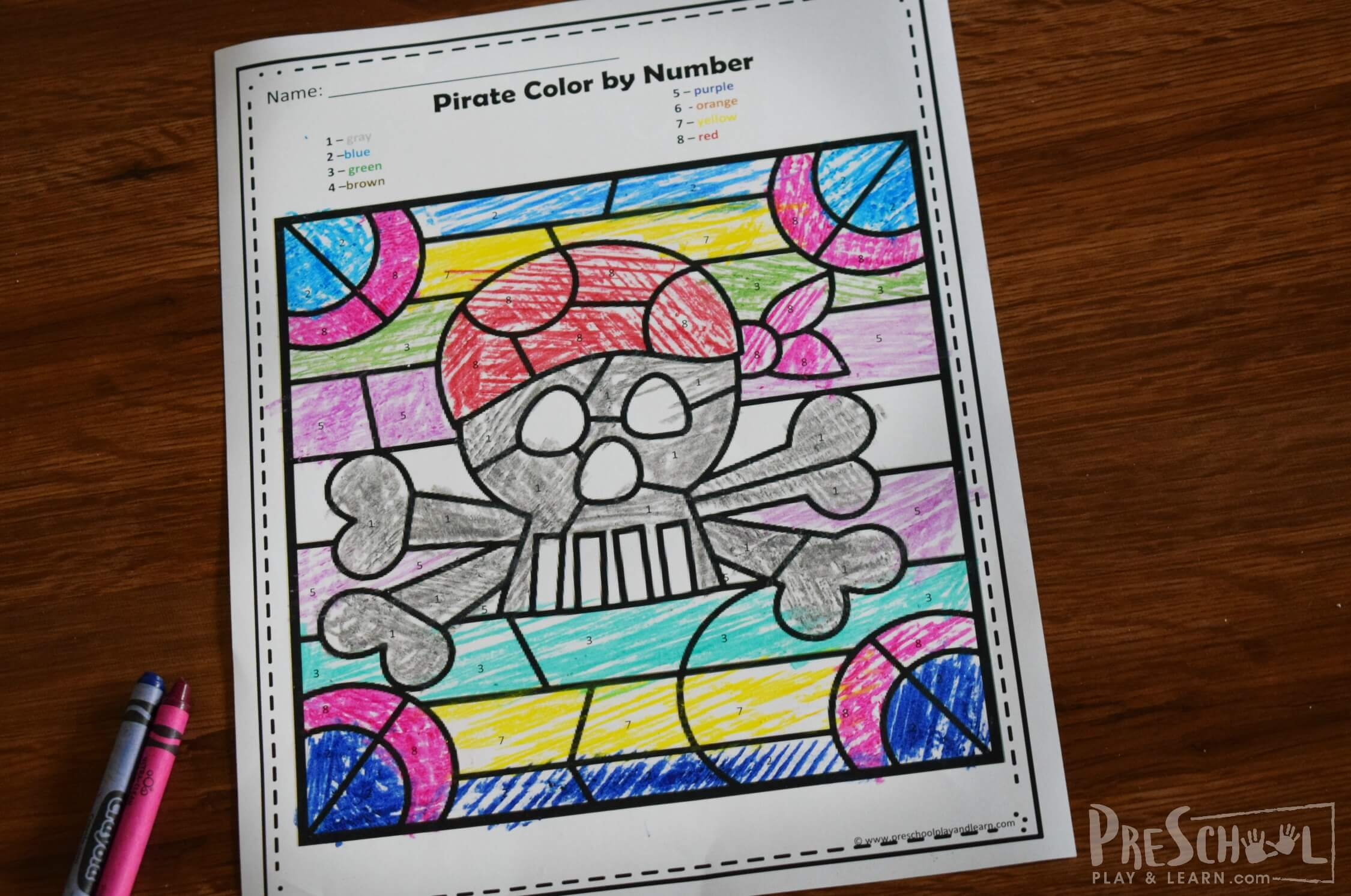 Free Pirate Color By Number