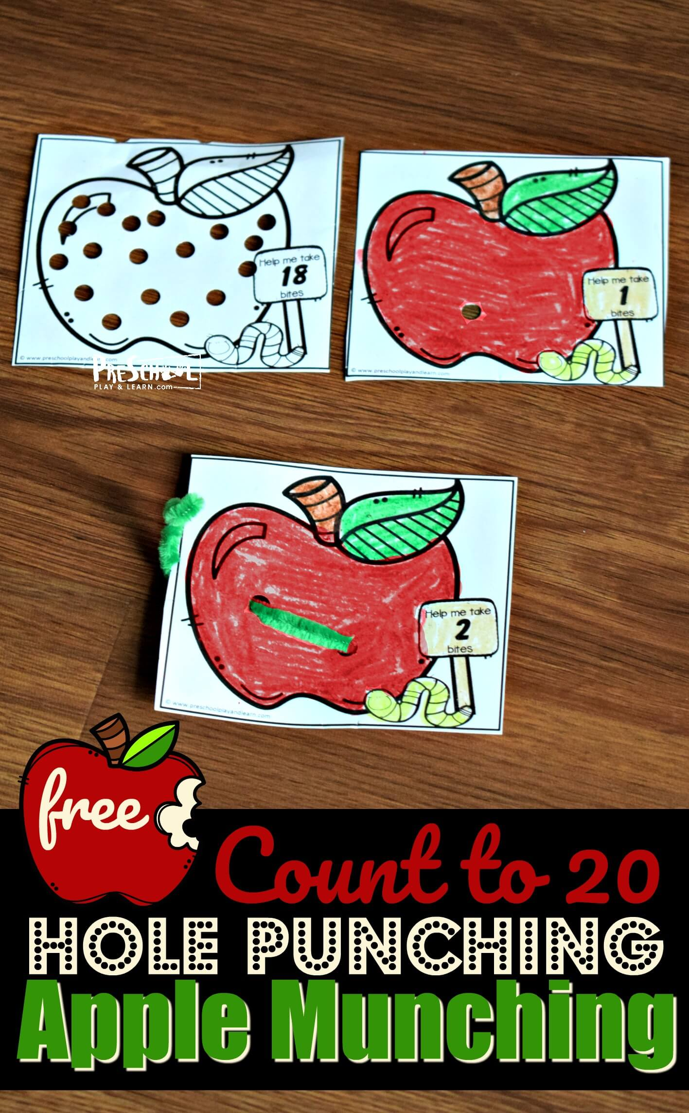 Count To 20 Hole Punching Apple Munching Printable Activity