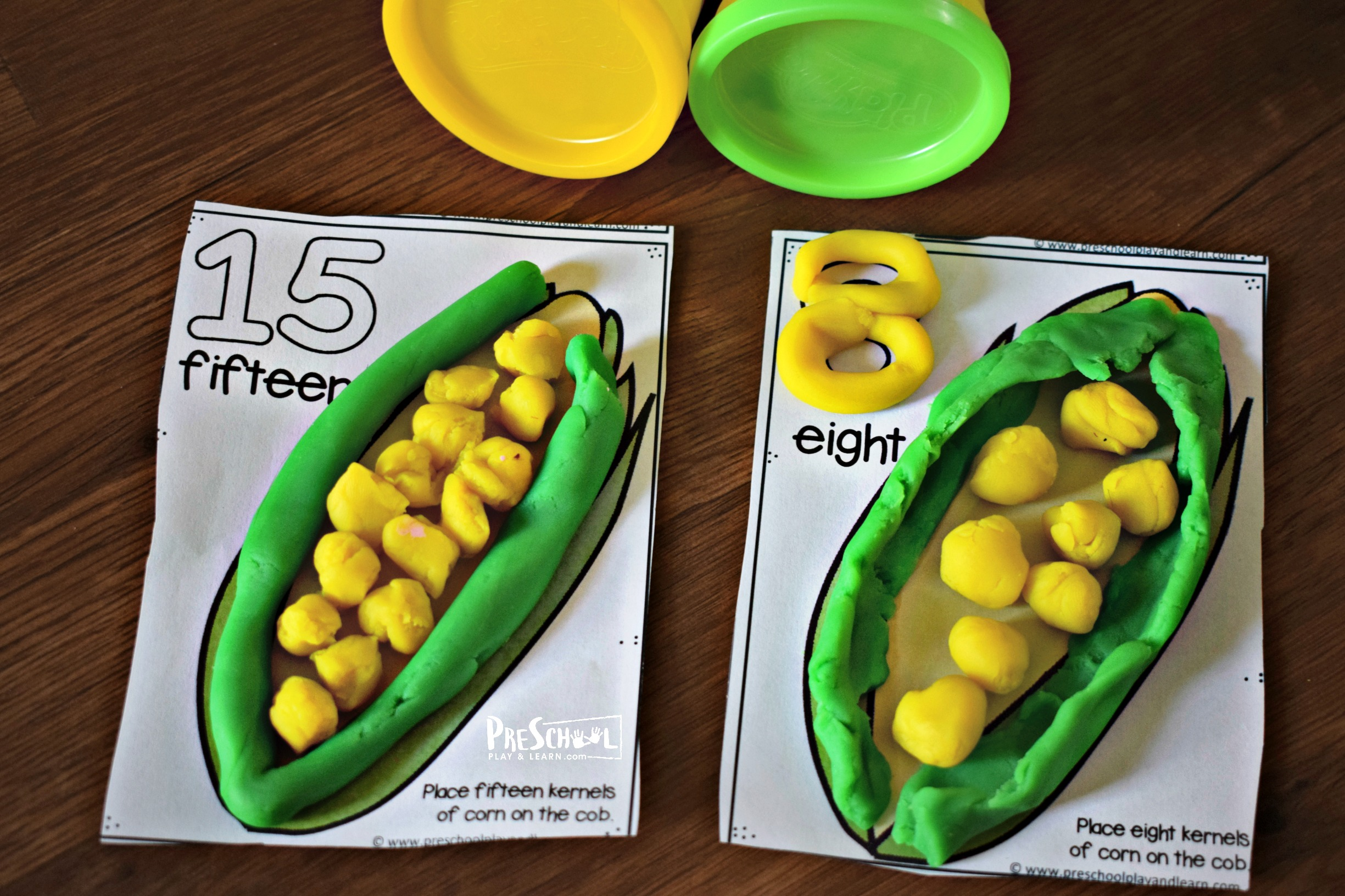 Count To 20 Corn Playdough Mats