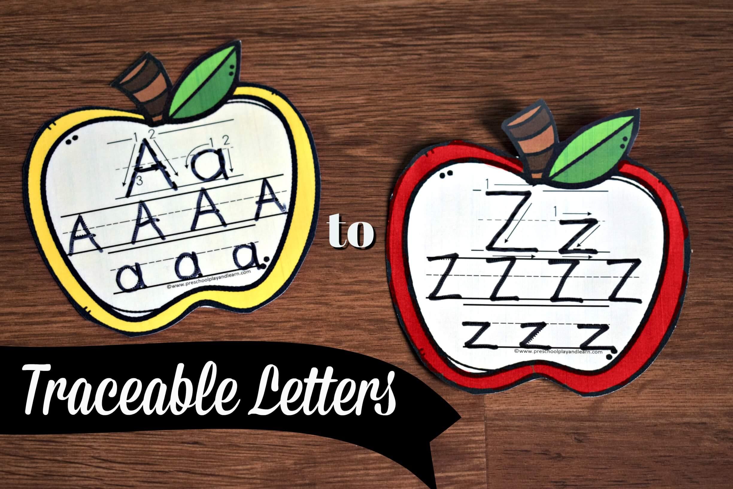 Apple Alphabet Tracing Cards