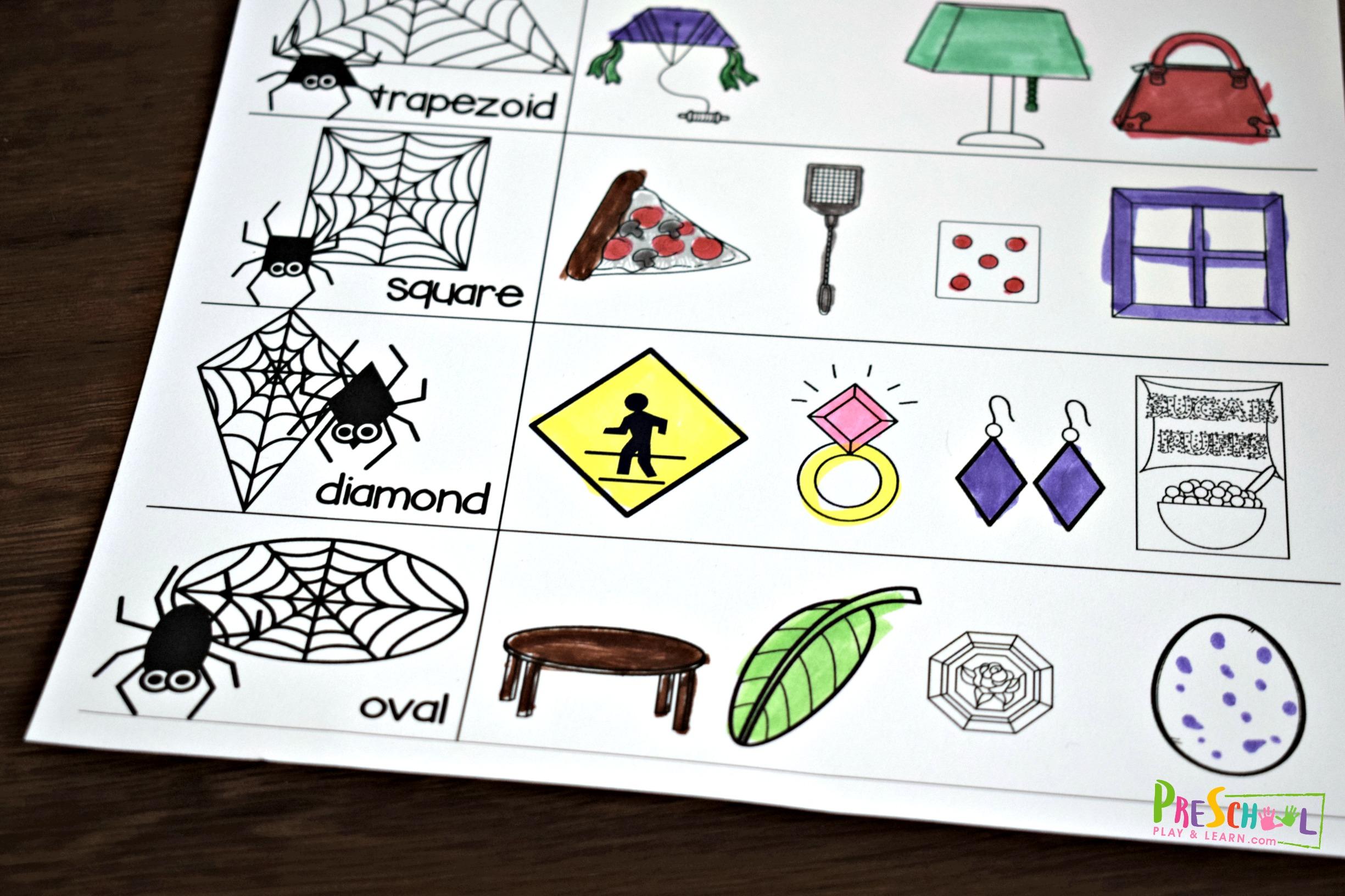Spider Shapes Worksheets For Preschool