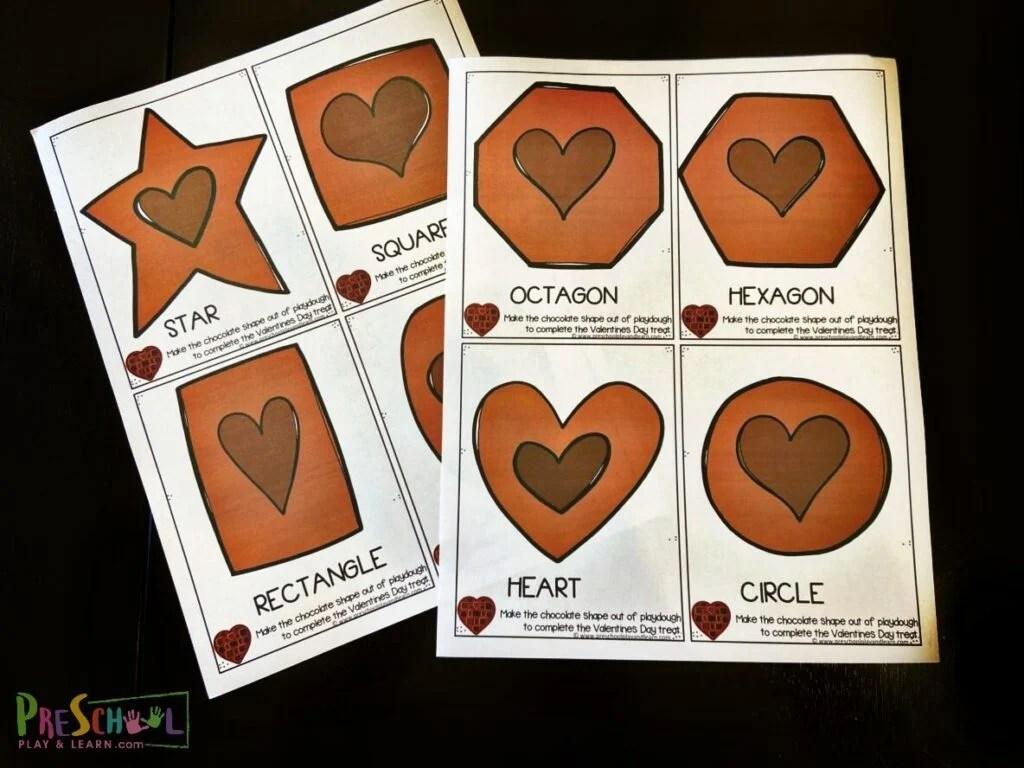 Chocolate Shape Playdough Cards