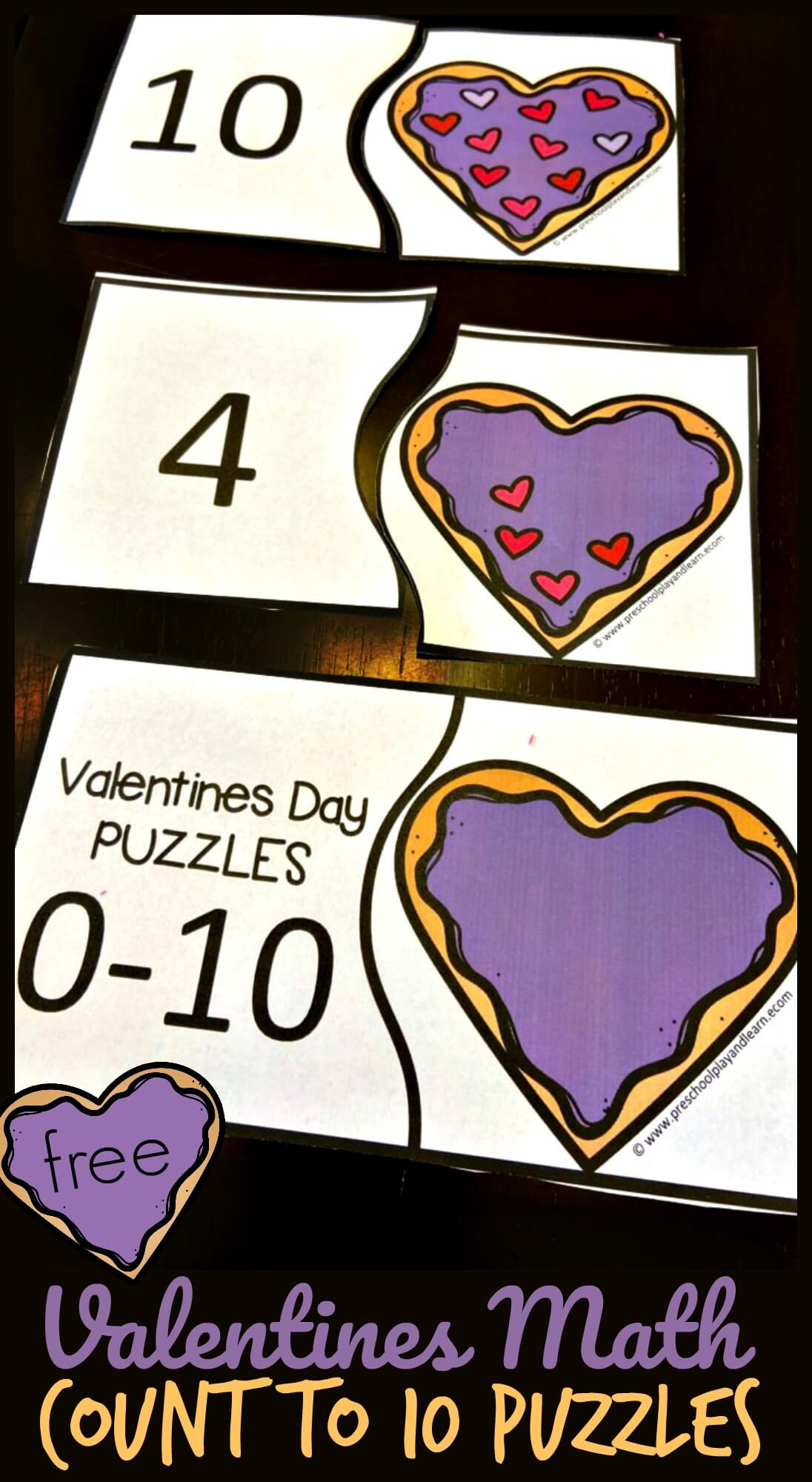 Valentines Math Count To 10 Puzzles