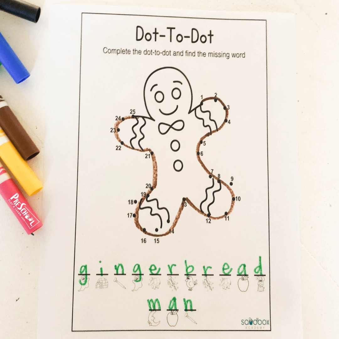 Free Gingerbread Man Connect The Dots Activity