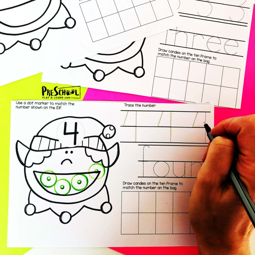 Free Do A Dot Elf Christmas Counting Worksheets For Preschool