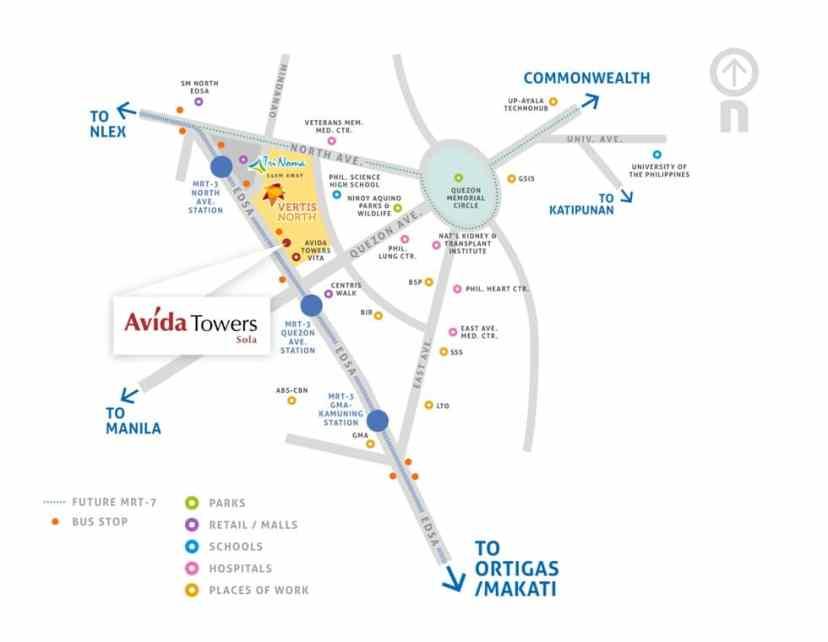 Avida Towers Sola Vicinity Map