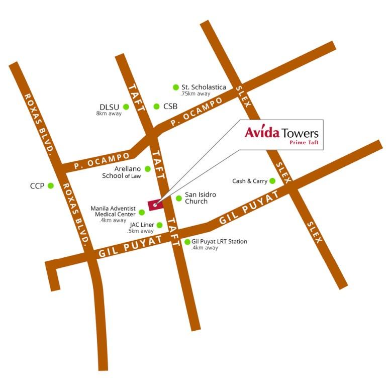 Avida Towers Prime Taft Location And Vicinity