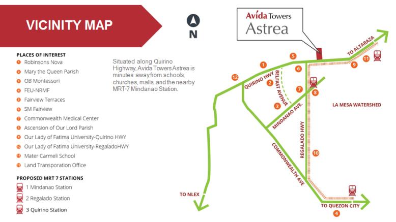 Avida Towers Astrea Location and Vicinity
