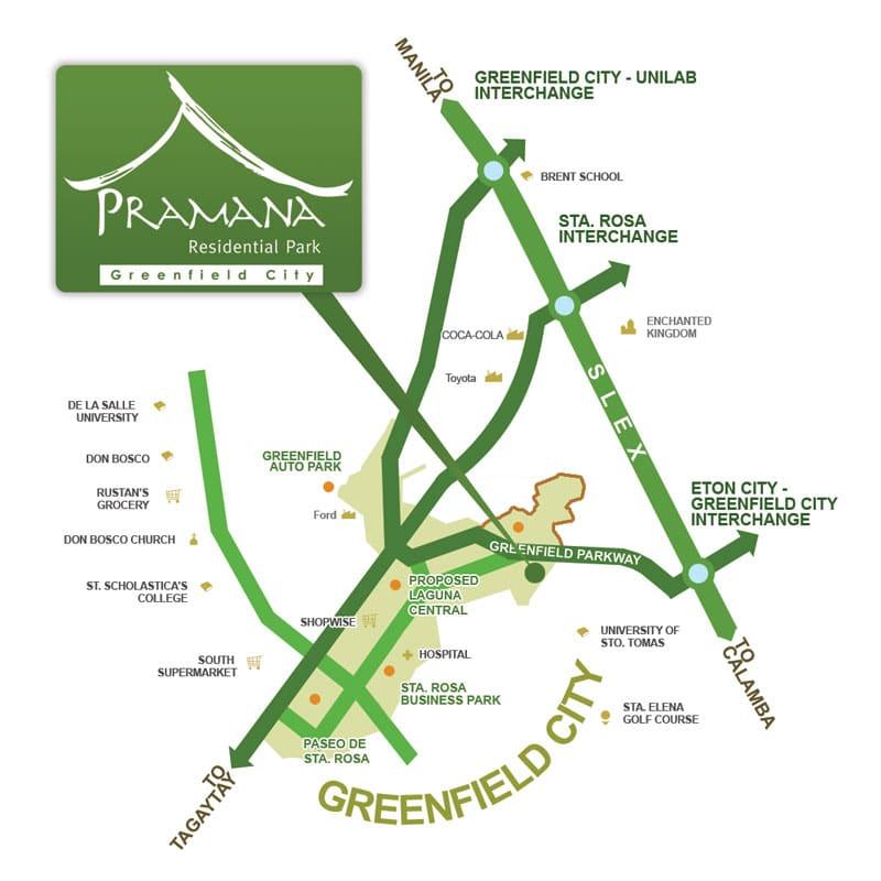 Pramana Sta Rosa location and vicinity at Greenfield City