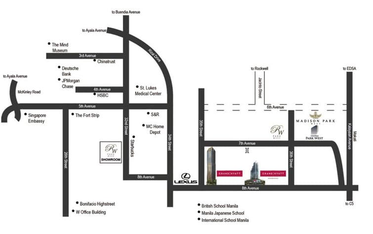 Grand Hyatt Residences South Tower Location and Vicinity
