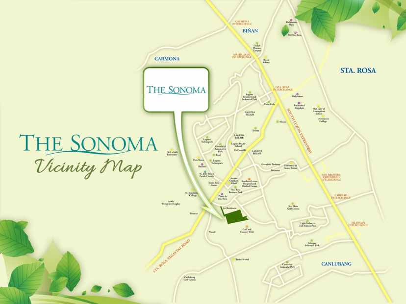 The Sonoma Sta Rosa Laguna Location and Vicinity Map