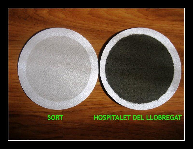 Filtres de captadores de aire de Sort y de L'Hospitalet del Llobregat