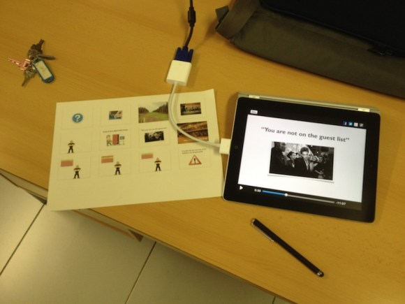 iPad con Educreations conectado a proyector multimedia