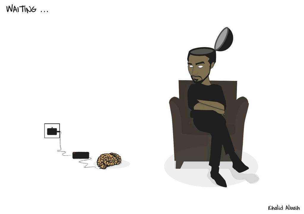 Ilustración de hombre esperando a que su cerebro se recargue