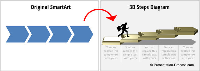 3D Steps Diagrams from SmartArt