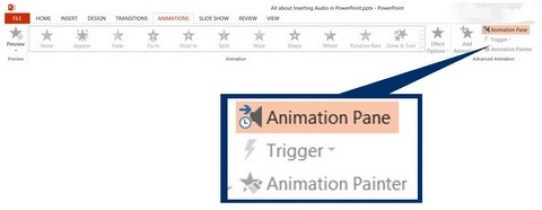 Go to animation pane