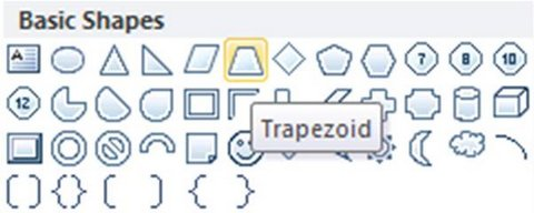 Trapezoid Shape in menu